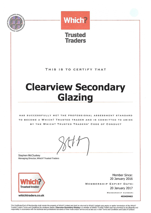 Clearview-Secondary-Glazing-Trusted-Trader-Certificate