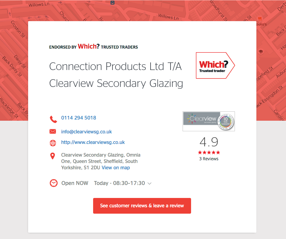Clearview Secondary Glazing Which? Trusted Traders Page
