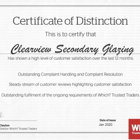 Clearview Awarded Which? Trusted Trader 'Certificate of Distinction'